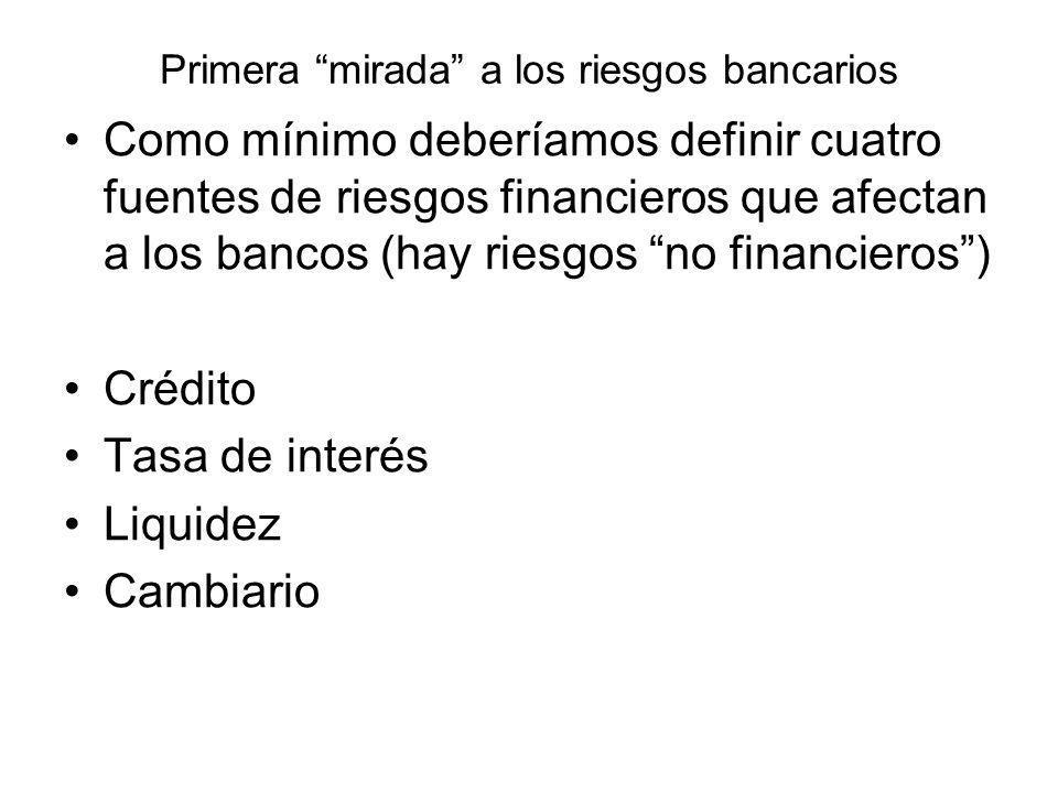 Primera mirada a los riesgos bancarios Como mínimo deberíamos definir cuatro fuentes de riesgos financieros que afectan a los bancos (hay riesgos no f