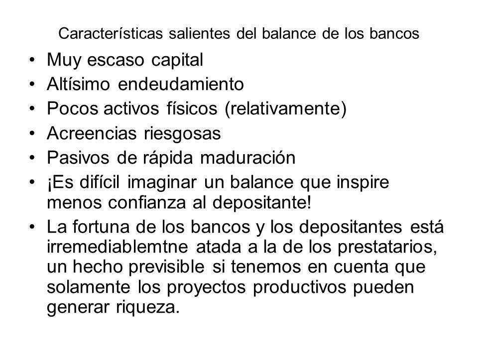Características salientes del balance de los bancos Muy escaso capital Altísimo endeudamiento Pocos activos físicos (relativamente) Acreencias riesgos