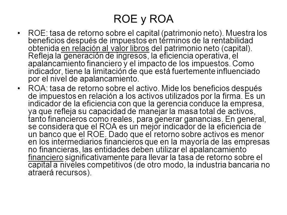 ROE y ROA ROE: tasa de retorno sobre el capital (patrimonio neto). Muestra los beneficios después de impuestos en términos de la rentabilidad obtenida