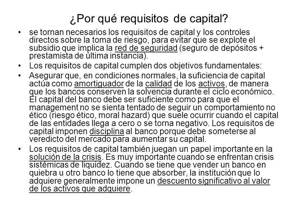 ¿Por qué requisitos de capital? se tornan necesarios los requisitos de capital y los controles directos sobre la toma de riesgo, para evitar que se ex