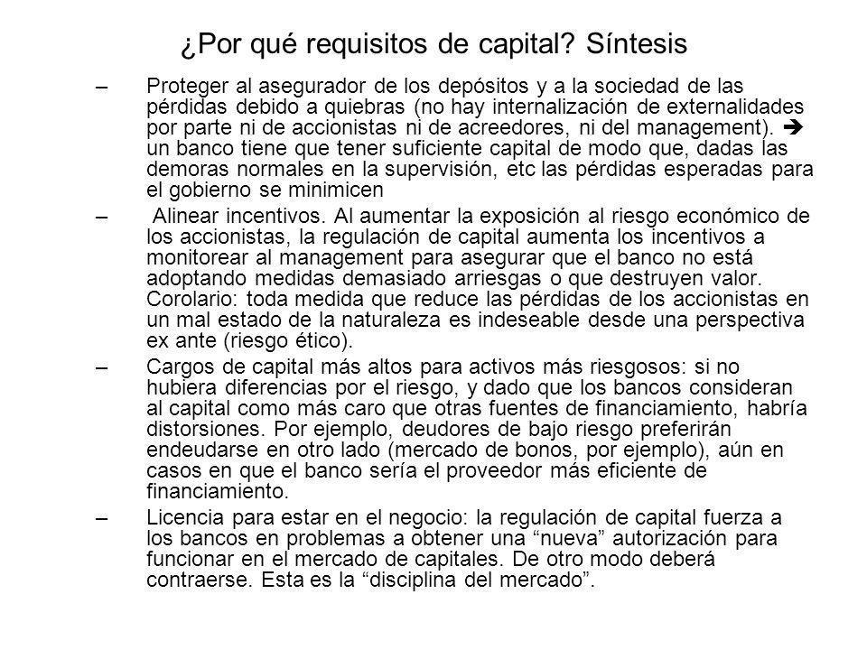¿Por qué requisitos de capital? Síntesis –Proteger al asegurador de los depósitos y a la sociedad de las pérdidas debido a quiebras (no hay internaliz