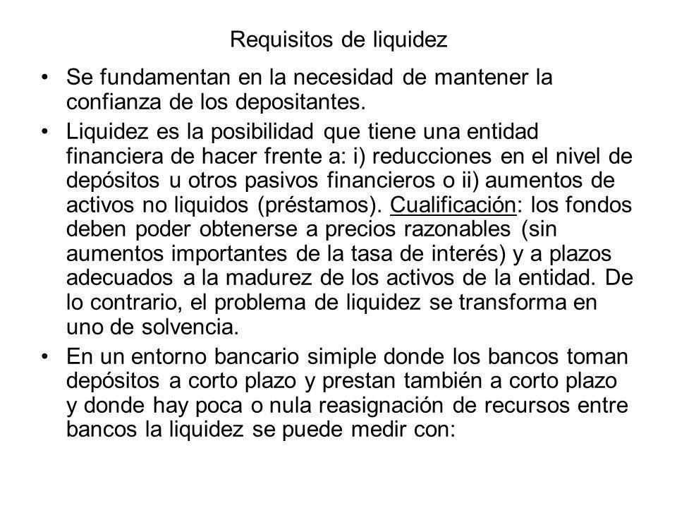 Requisitos de liquidez Se fundamentan en la necesidad de mantener la confianza de los depositantes. Liquidez es la posibilidad que tiene una entidad f