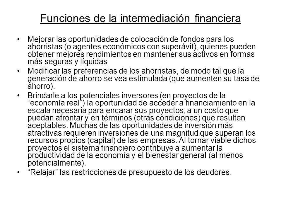 Funciones de la intermediación financiera Mejorar las oportunidades de colocación de fondos para los ahorristas (o agentes económicos con superávit),