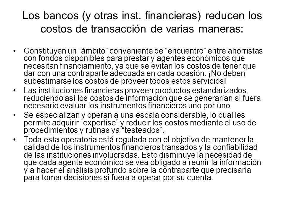 Los bancos (y otras inst. financieras) reducen los costos de transacción de varias maneras: Constituyen un ámbito conveniente de encuentro entre ahorr