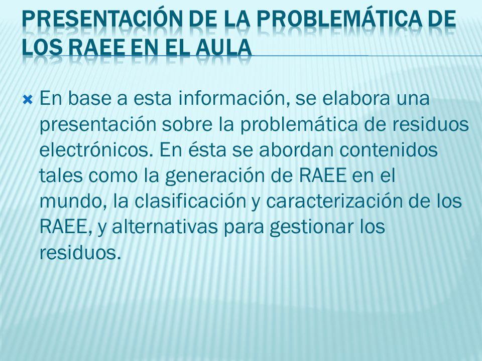 En base a esta información, se elabora una presentación sobre la problemática de residuos electrónicos.