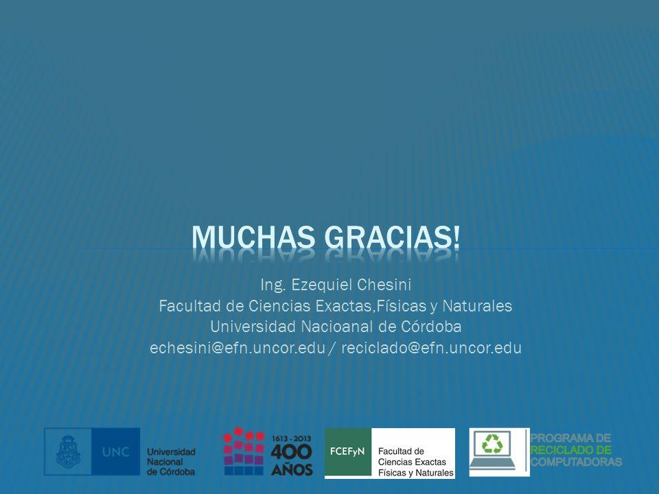Ing. Ezequiel Chesini Facultad de Ciencias Exactas,Físicas y Naturales Universidad Nacioanal de Córdoba echesini@efn.uncor.edu / reciclado@efn.uncor.e
