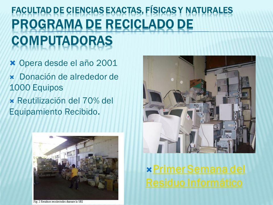 Opera desde el año 2001 Donación de alrededor de 1000 Equipos Reutilización del 70% del Equipamiento Recibido.