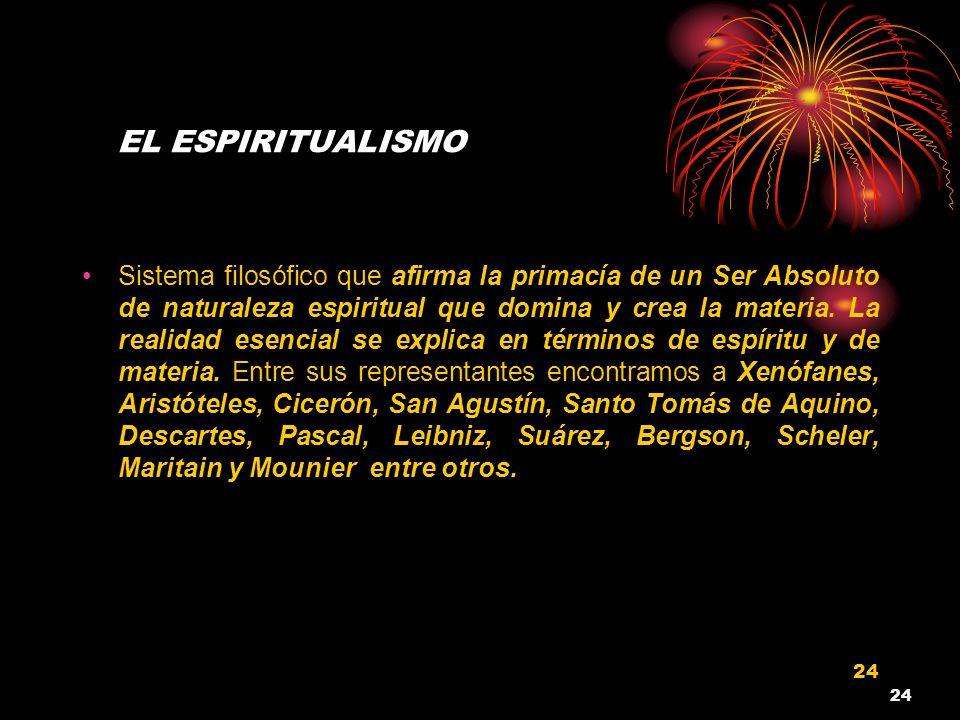 24 EL ESPIRITUALISMO Sistema filosófico que afirma la primacía de un Ser Absoluto de naturaleza espiritual que domina y crea la materia. La realidad e