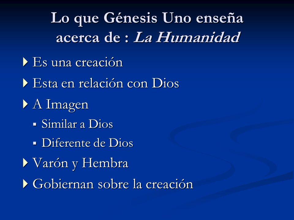 Lo que Génesis Uno enseña acerca de : La Humanidad Es una creación Es una creación Esta en relación con Dios Esta en relación con Dios A Imagen A Imag