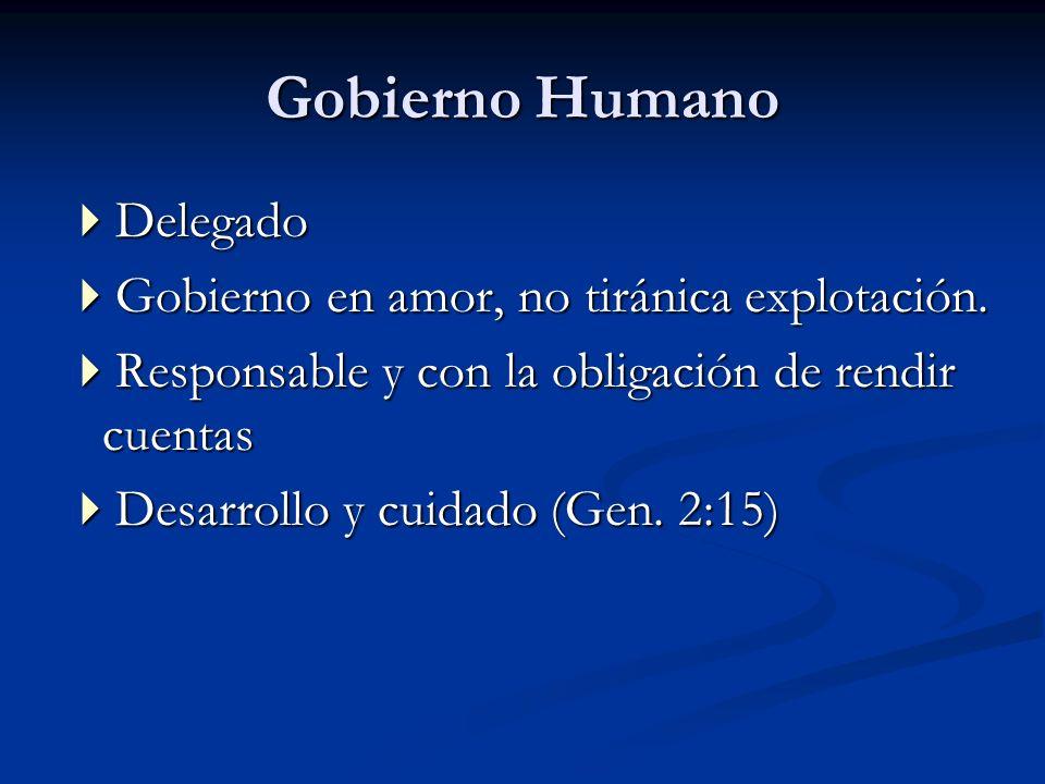 Gobierno Humano Delegado Delegado Gobierno en amor, no tiránica explotación. Gobierno en amor, no tiránica explotación. Responsable y con la obligació