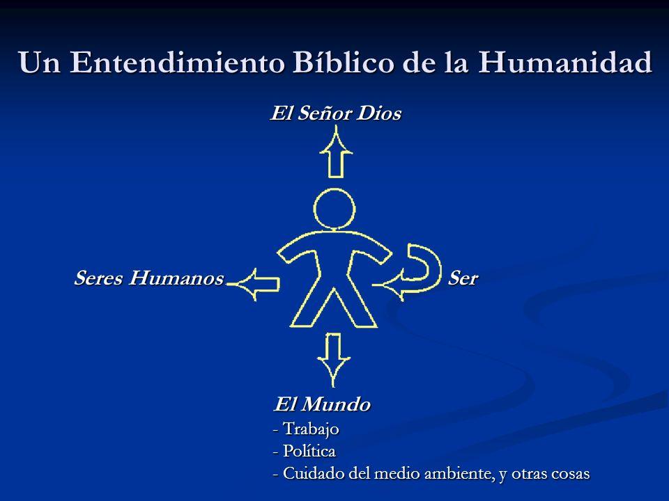 Un Entendimiento Bíblico de la Humanidad El Señor Dios El Mundo - Trabajo - Política - Cuidado del medio ambiente, y otras cosas Ser Seres Humanos