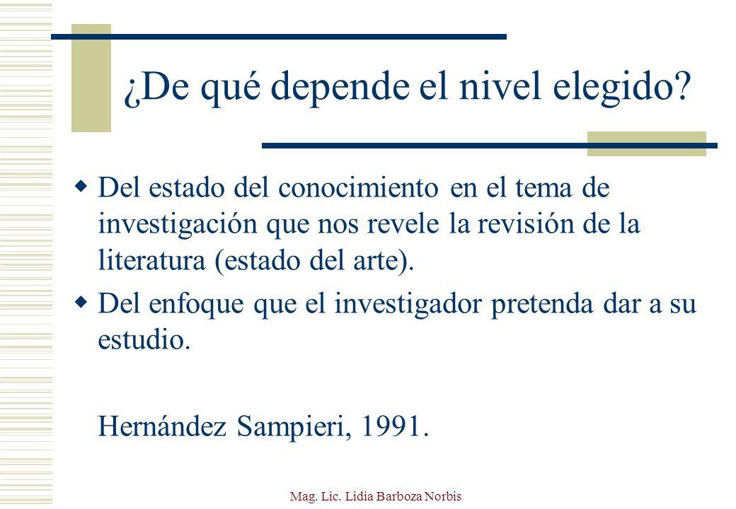 Mag.Lic. Lidia Barboza Norbis ¿Cuáles son los elementos que definen un diseño metodológico.
