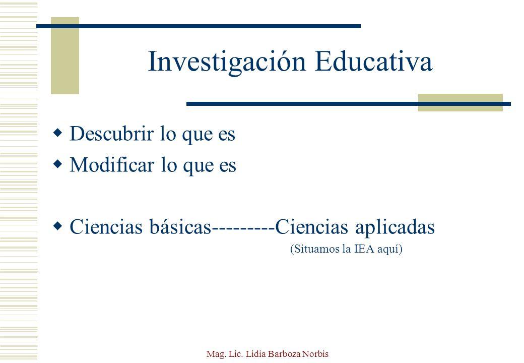 Mag.Lic. Lidia Barboza Norbis ¿Cuál es el rol de la IEA.