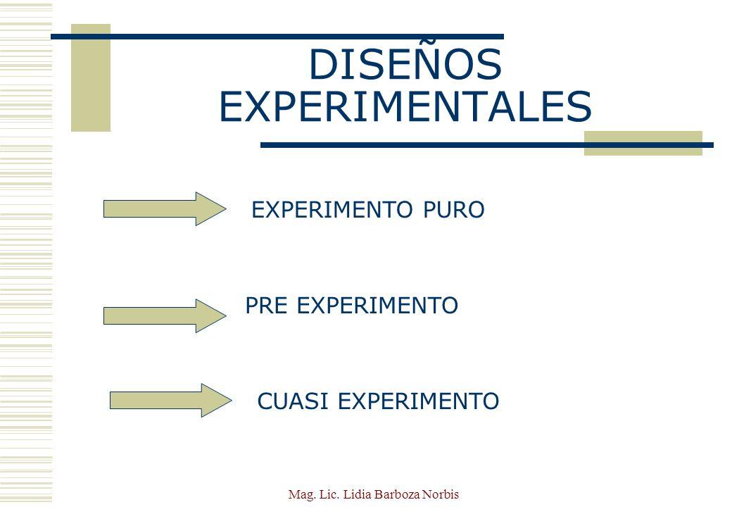 Mag.Lic. Lidia Barboza Norbis DISEÑOS EXPERIMENTALES ¿ Qué es un experimento.