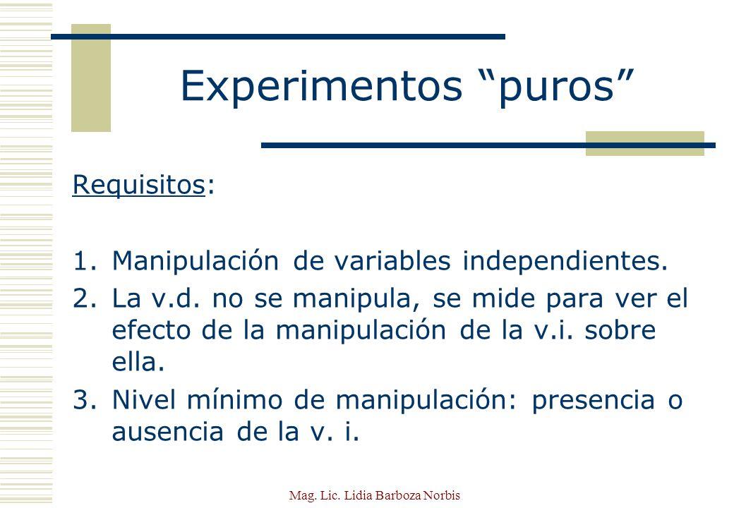 Mag.Lic. Lidia Barboza Norbis Experimentos puros Requisitos: 4.Medición del efecto de la v.i.
