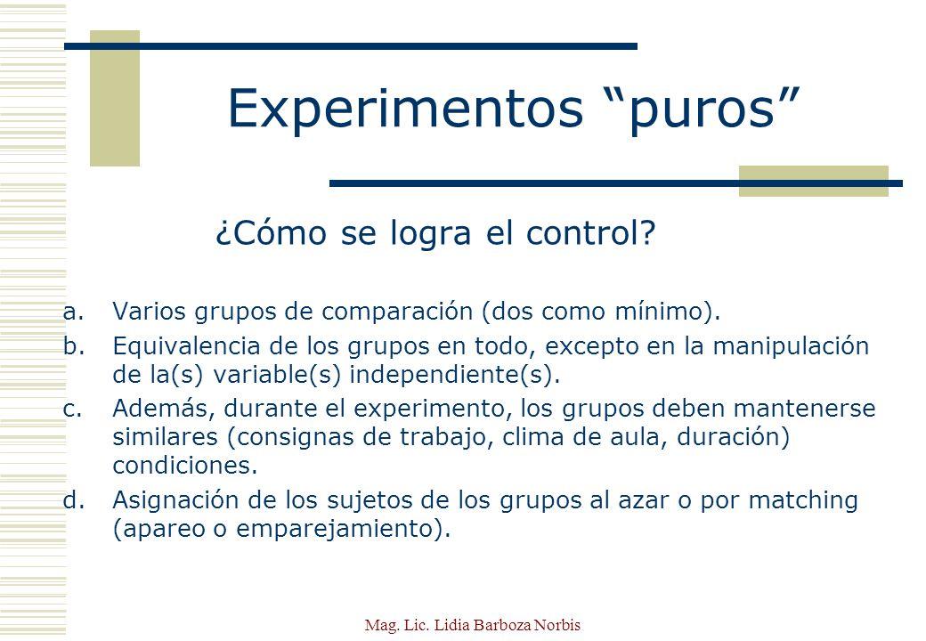 Mag.Lic. Lidia Barboza Norbis PRE-EXPERIMENTOS Grado mínimo de control.