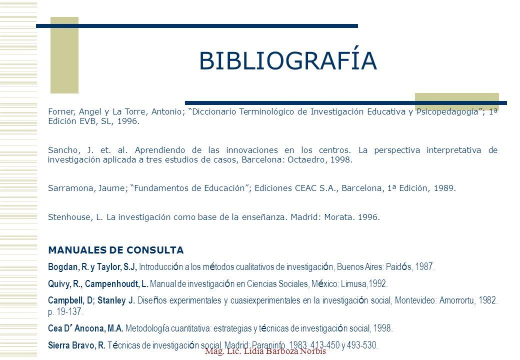 Mag.Lic. Lidia Barboza Norbis BIBLIOGRAFÍA INVESTIGACI Ó N ACCI Ó N: Elliott, J.