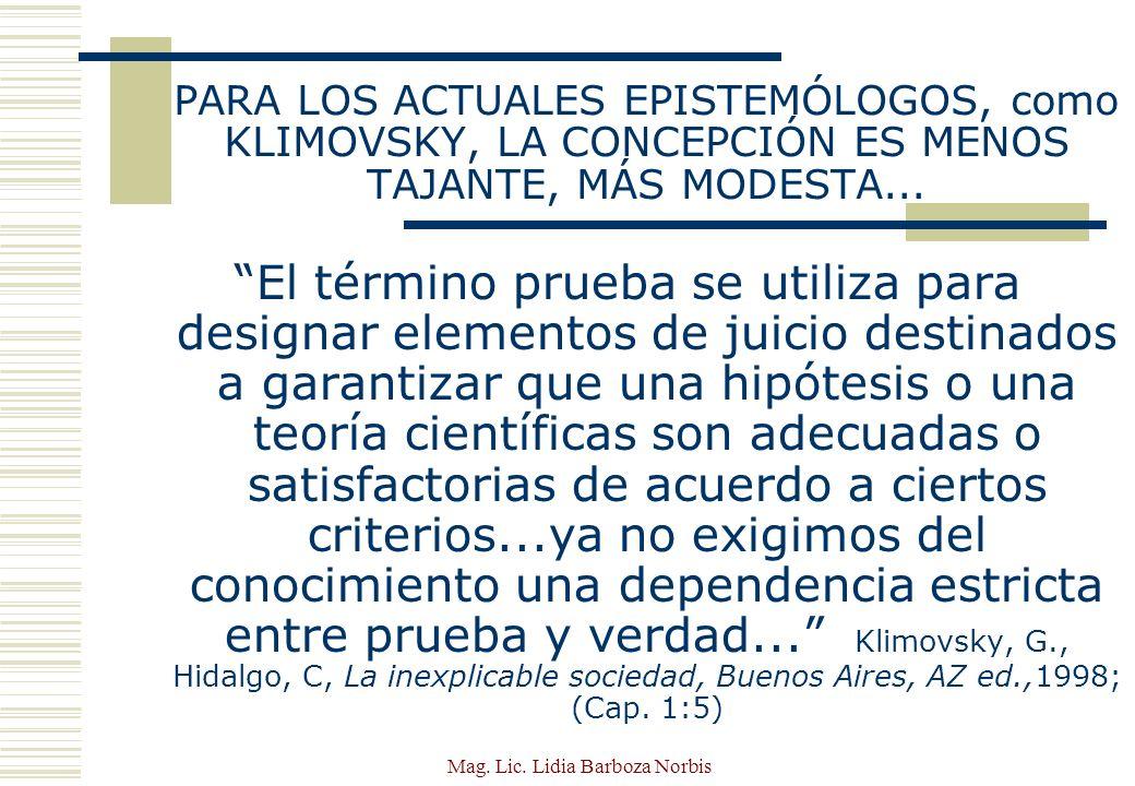 Mag.Lic. Lidia Barboza Norbis HIPÓTESIS Y TEORÍAS...