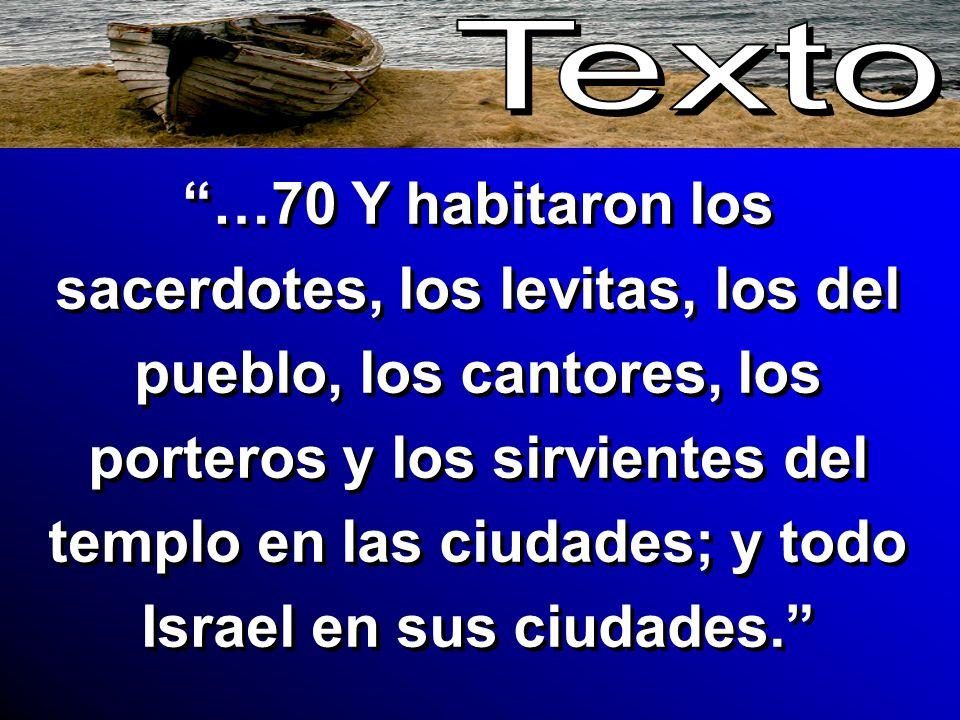 …70 Y habitaron los sacerdotes, los levitas, los del pueblo, los cantores, los porteros y los sirvientes del templo en las ciudades; y todo Israel en