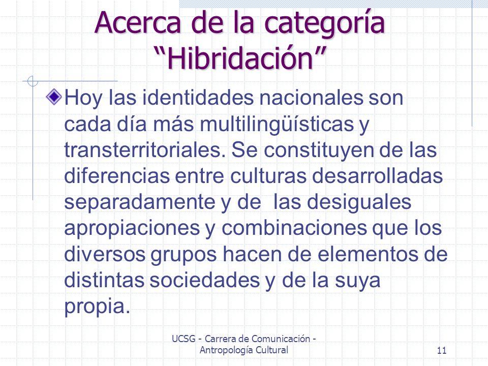 UCSG - Carrera de Comunicación - Antropología Cultural11 Acerca de la categoría Hibridación Hoy las identidades nacionales son cada día más multilingü