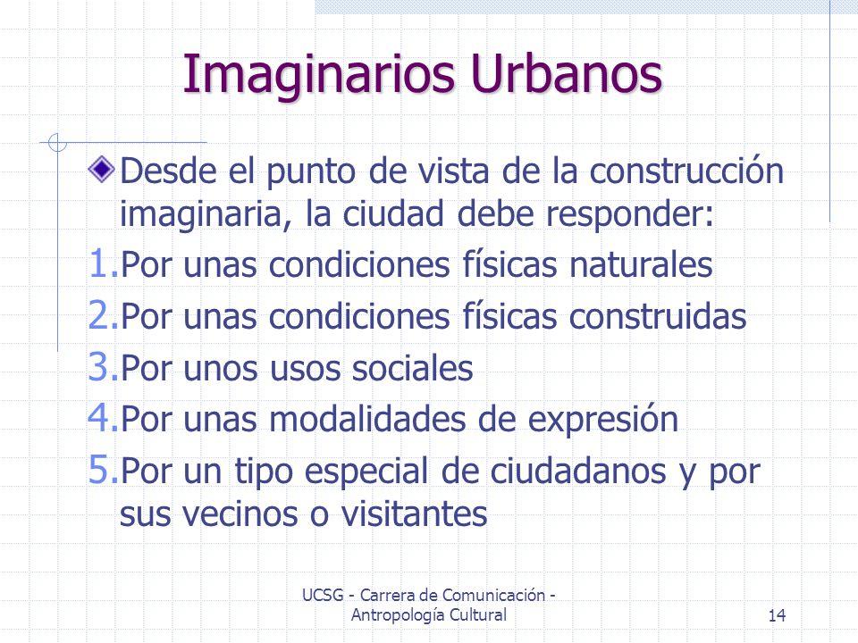 UCSG - Carrera de Comunicación - Antropología Cultural14 Imaginarios Urbanos Desde el punto de vista de la construcción imaginaria, la ciudad debe res