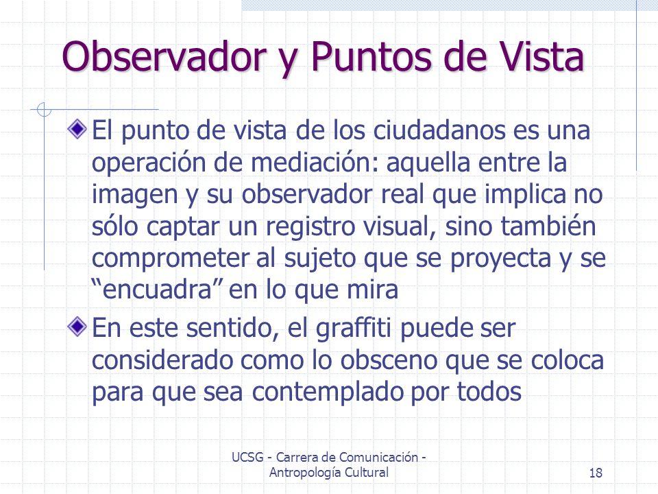 UCSG - Carrera de Comunicación - Antropología Cultural18 Observador y Puntos de Vista El punto de vista de los ciudadanos es una operación de mediació