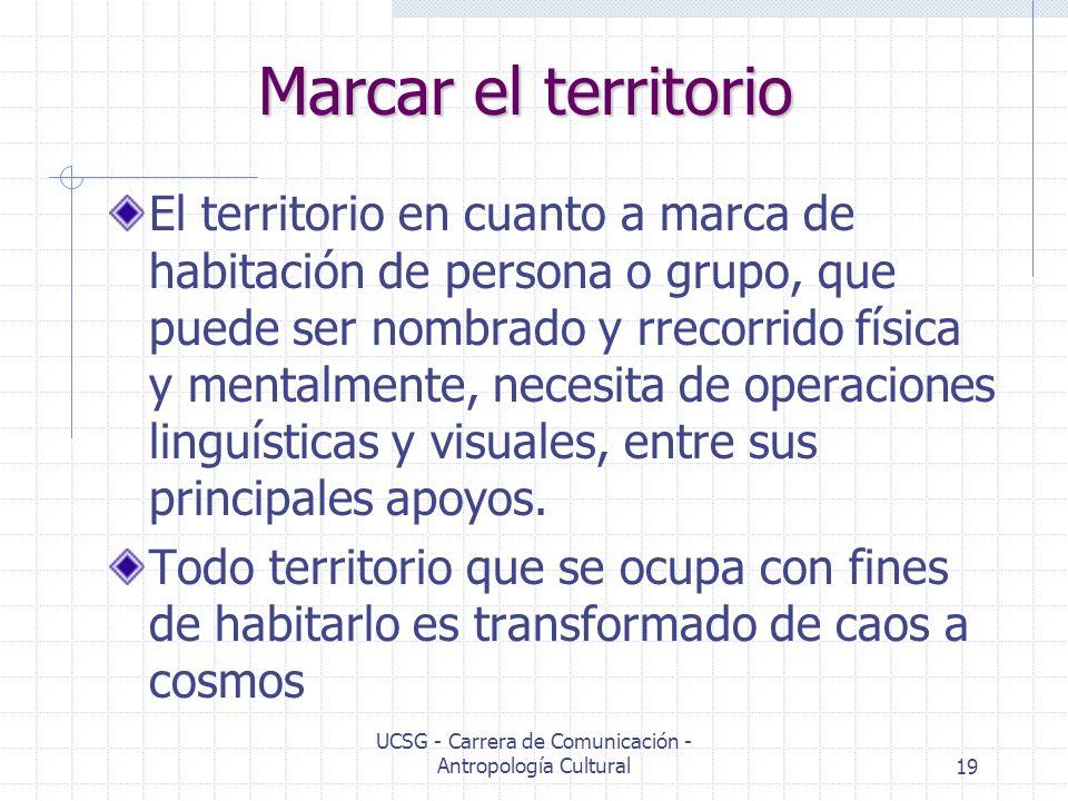 UCSG - Carrera de Comunicación - Antropología Cultural19 Marcar el territorio El territorio en cuanto a marca de habitación de persona o grupo, que pu