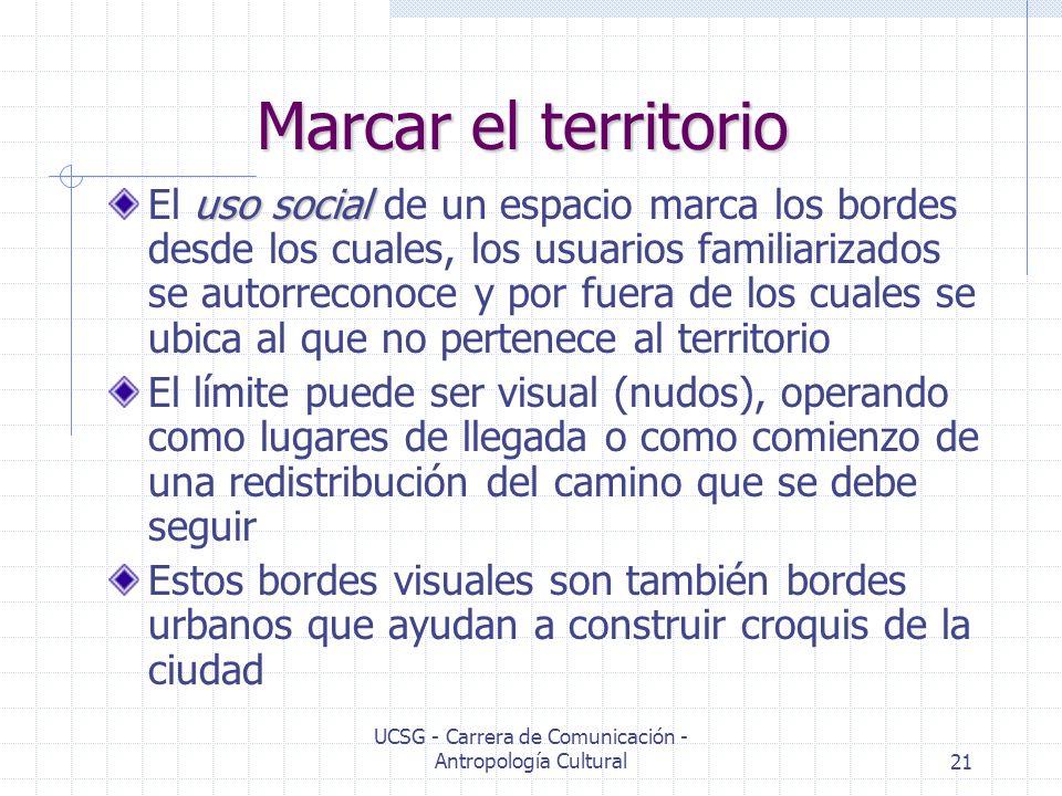 UCSG - Carrera de Comunicación - Antropología Cultural21 Marcar el territorio uso social El uso social de un espacio marca los bordes desde los cuales