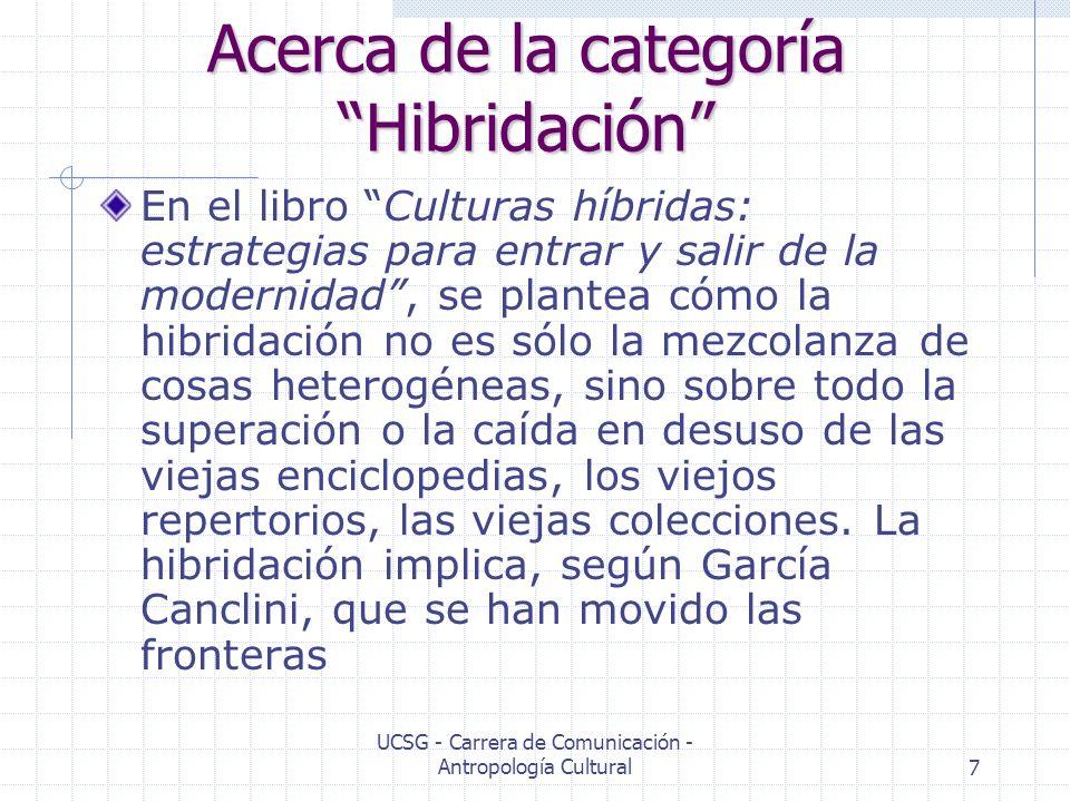 UCSG - Carrera de Comunicación - Antropología Cultural7 Acerca de la categoría Hibridación En el libro Culturas híbridas: estrategias para entrar y sa