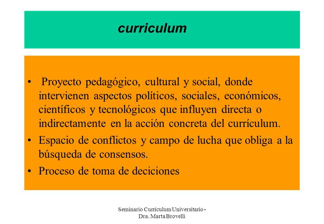 Seminario Curriculum Universitario - Dra. Marta Brovelli curriculum Proyecto pedagógico, cultural y social, donde intervienen aspectos políticos, soci