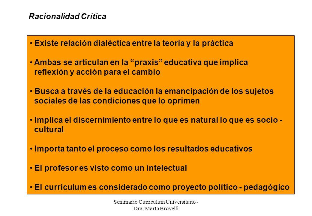 Seminario Curriculum Universitario - Dra. Marta Brovelli Racionalidad Crítica Existe relación dialéctica entre la teoría y la práctica Ambas se articu