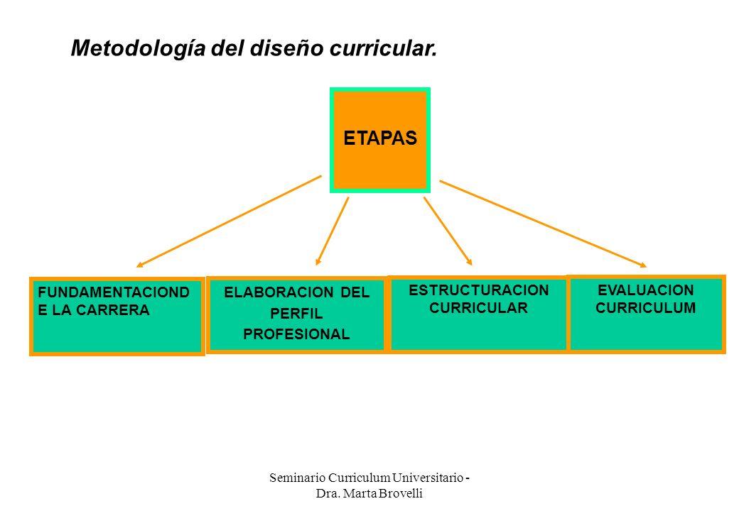 Seminario Curriculum Universitario - Dra. Marta Brovelli Metodología del diseño curricular. ETAPAS FUNDAMENTACIOND E LA CARRERA ESTRUCTURACION CURRICU