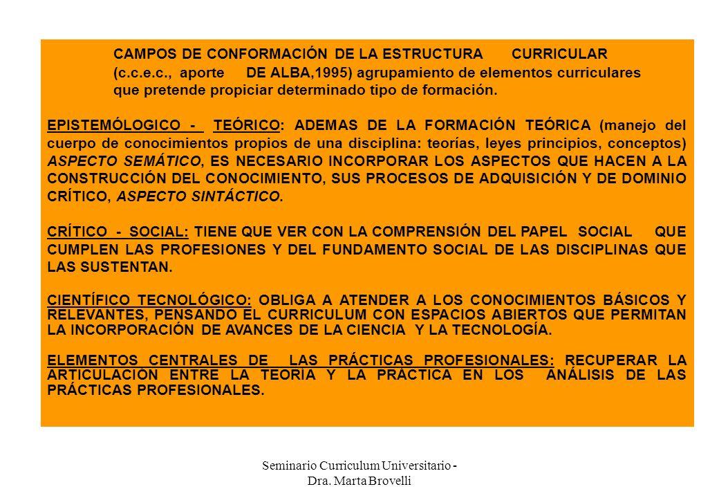 Seminario Curriculum Universitario - Dra. Marta Brovelli CAMPOS DE CONFORMACIÓN DE LA ESTRUCTURACURRICULAR (c.c.e.c.,aporteDE ALBA,1995) agrupamiento