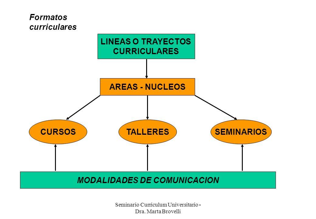 Seminario Curriculum Universitario - Dra. Marta Brovelli Formatos curriculares LINEAS O TRAYECTOS CURRICULARES AREAS - NUCLEOS CURSOSTALLERESSEMINARIO