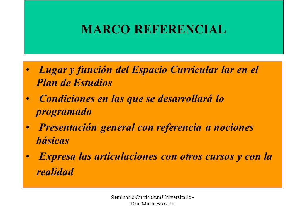 Seminario Curriculum Universitario - Dra. Marta Brovelli Implica: MARCO REFERENCIAL Lugar y función del Espacio Curricular lar en el Plan de Estudios
