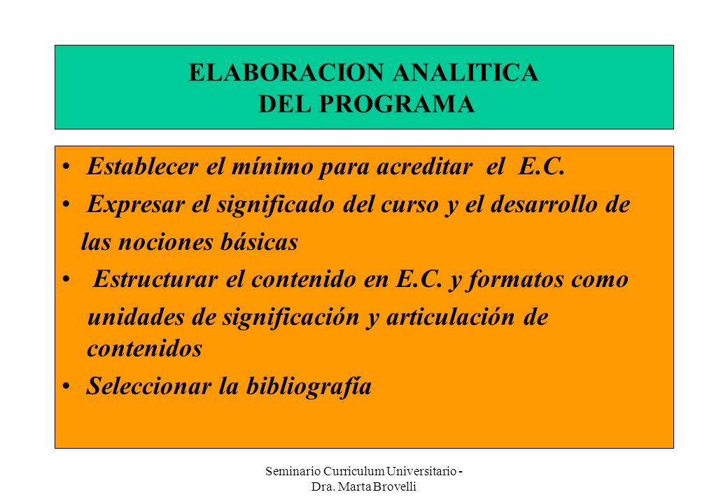 Seminario Curriculum Universitario - Dra. Marta Brovelli ELABORACION ANALITICA DEL PROGRAMA Establecer el mínimo para acreditar el E.C. Expresar el si