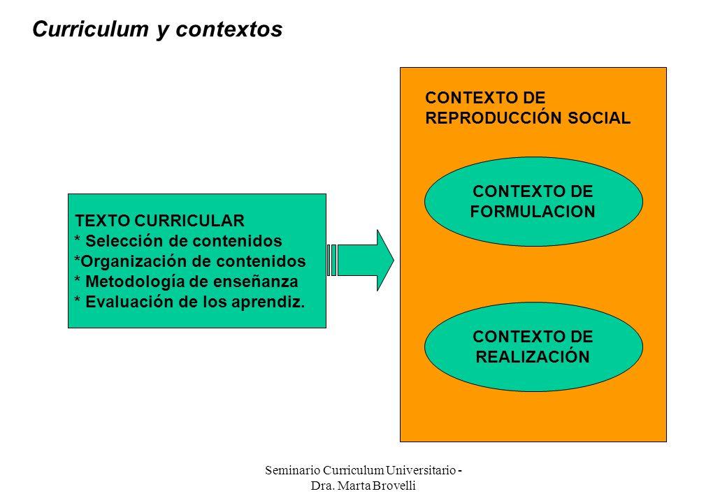 Seminario Curriculum Universitario - Dra. Marta Brovelli TEXTO CURRICULAR * Selección de contenidos *Organización de contenidos * Metodología de enseñ