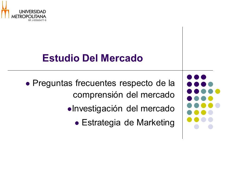 Estudio Del Mercado Preguntas frecuentes respecto de la comprensión del mercado Investigación del mercado Estrategia de Marketing