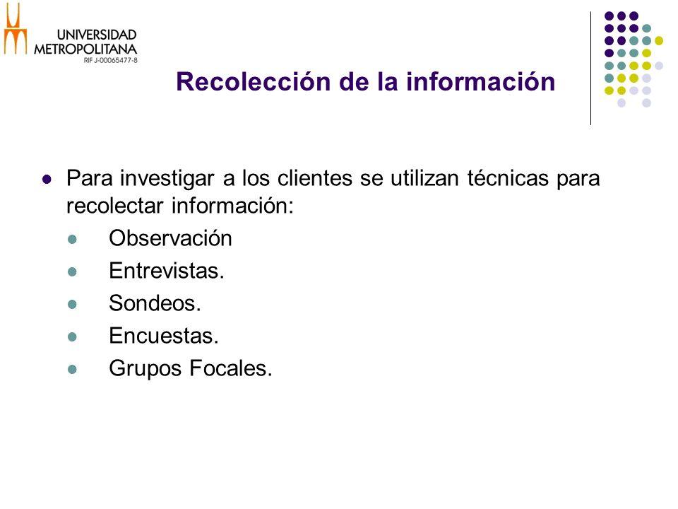 Recolección de la información Para investigar a los clientes se utilizan técnicas para recolectar información: Observación Entrevistas. Sondeos. Encue