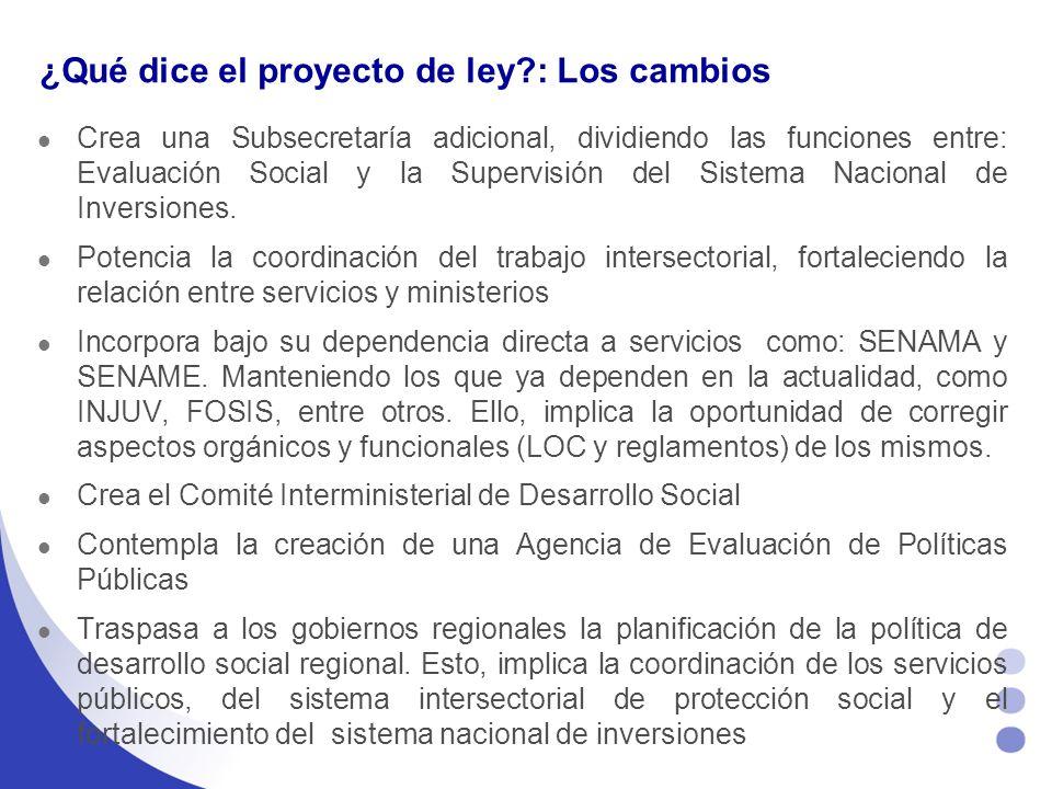 ¿Qué dice el proyecto de ley : Los cambios Crea una Subsecretaría adicional, dividiendo las funciones entre: Evaluación Social y la Supervisión del Sistema Nacional de Inversiones.
