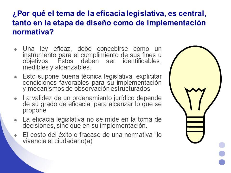 ¿Por qué el tema de la eficacia legislativa, es central, tanto en la etapa de diseño como de implementación normativa.