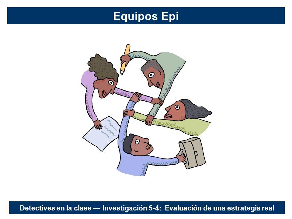 Equipos Epi Detectives en la clase Investigación 5-4: Evaluación de una estrategia real