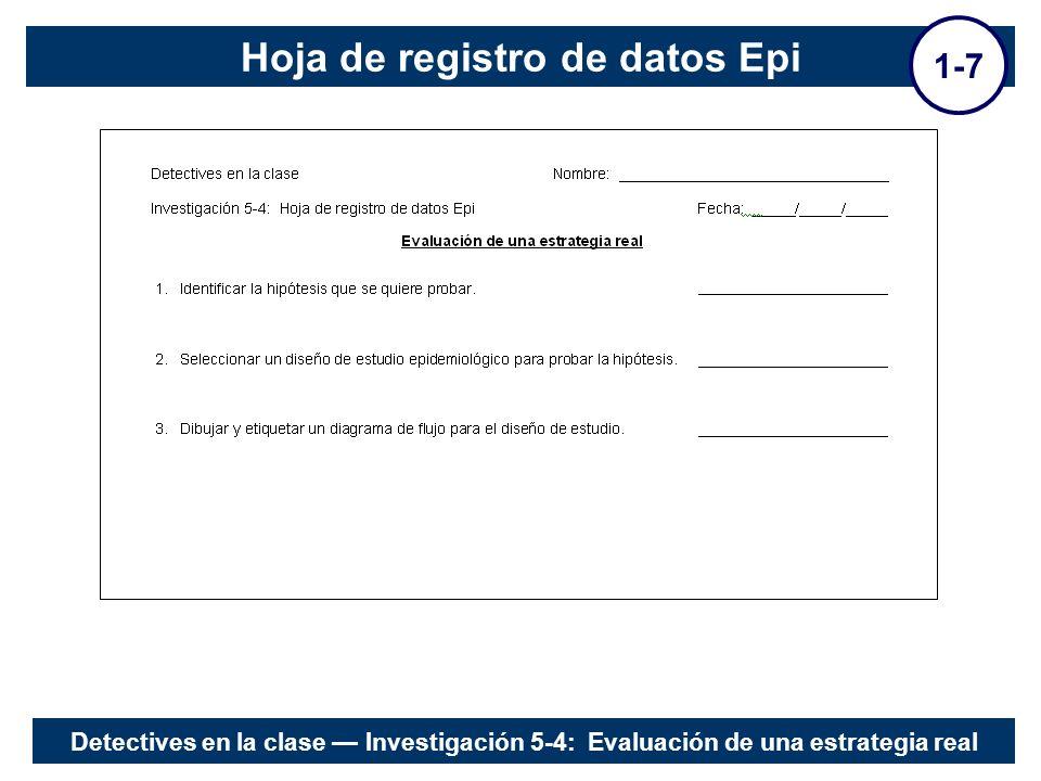 Hoja de registro de datos Epi 1-7 Detectives en la clase Investigación 5-4: Evaluación de una estrategia real