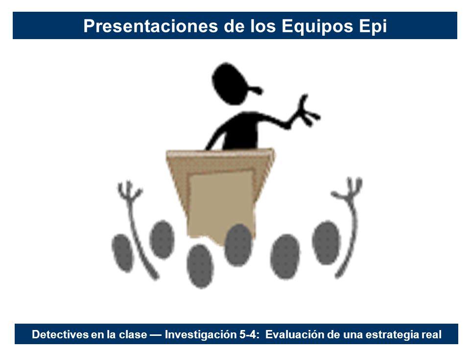 Presentaciones de los Equipos Epi Detectives en la clase Investigación 5-4: Evaluación de una estrategia real