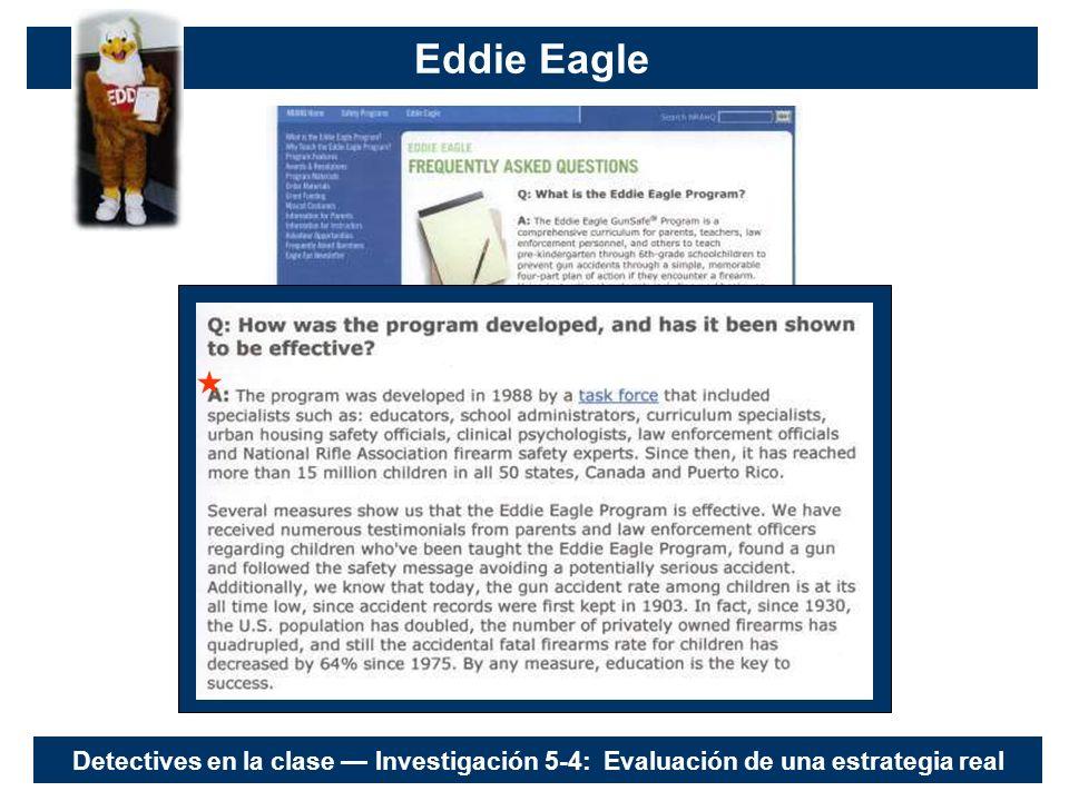 Eddie Eagle Detectives en la clase Investigación 5-4: Evaluación de una estrategia real