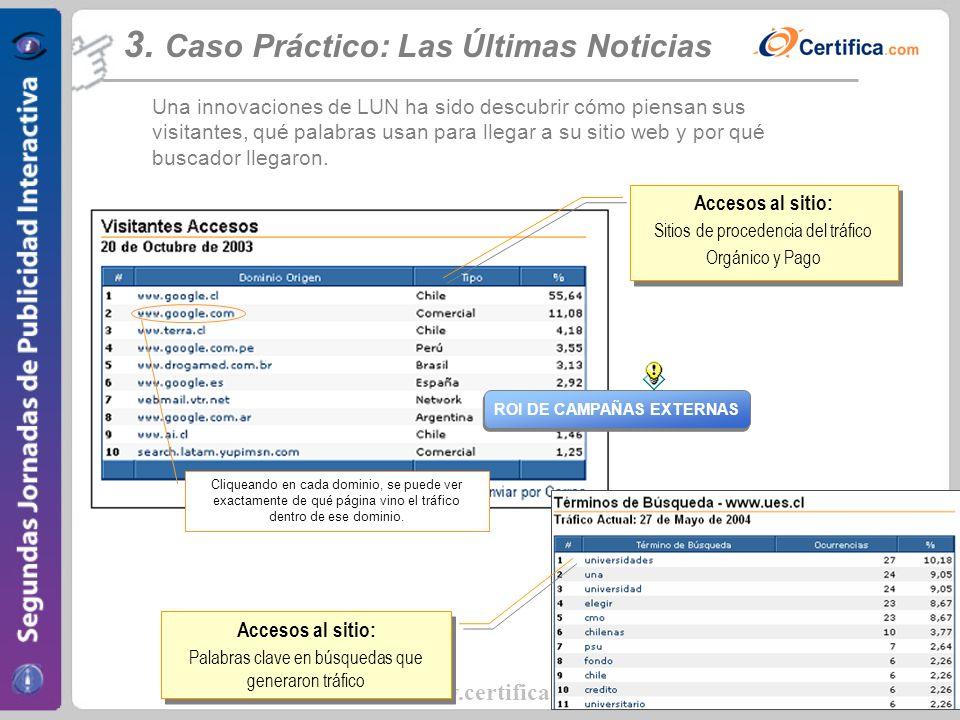 www.certifica.com Accesos al sitio: Sitios de procedencia del tráfico Orgánico y Pago Accesos al sitio: Sitios de procedencia del tráfico Orgánico y P