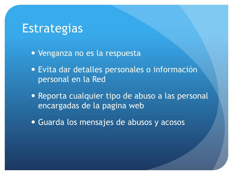 Venganza no es la respuesta Evita dar detalles personales o información personal en la Red Reporta cualquier tipo de abuso a las personal encargadas d