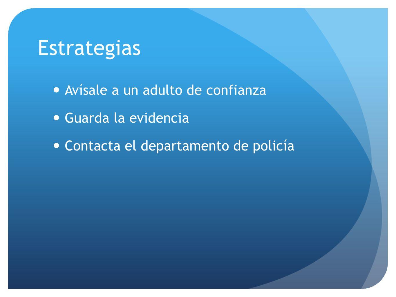 Avísale a un adulto de confianza Guarda la evidencia Contacta el departamento de policía Estrategias