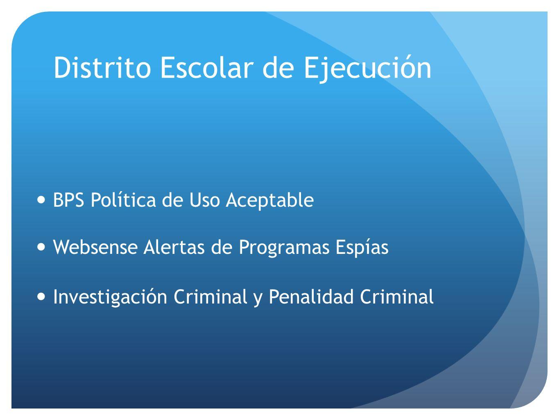 BPS Política de Uso Aceptable Websense Alertas de Programas Espías Investigación Criminal y Penalidad Criminal Distrito Escolar de Ejecución
