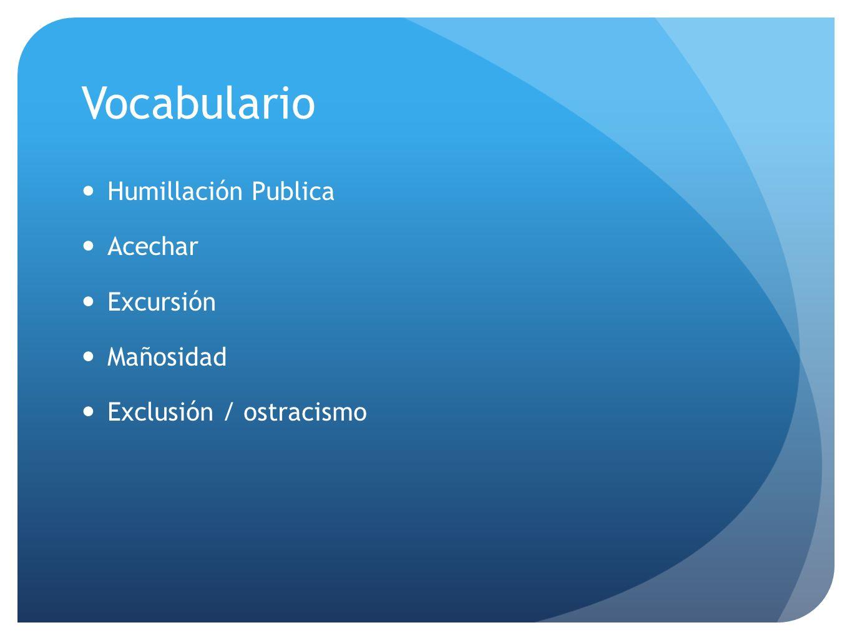 Vocabulario Humillación Publica Acechar Excursión Mañosidad Exclusión / ostracismo